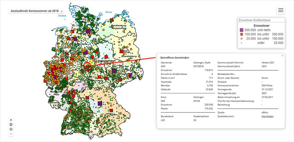 Konzessionsnavigator-Interaktive Karte